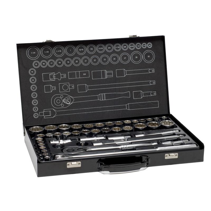 70000 – 43pce 1/2″ Drive AF & METRIC Socket Set