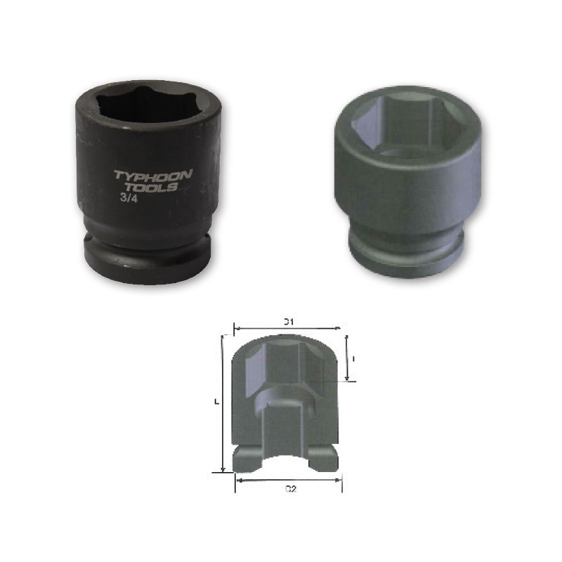 "3/4"" Drive Standard Length Impact Sockets, 6-point, METRIC"