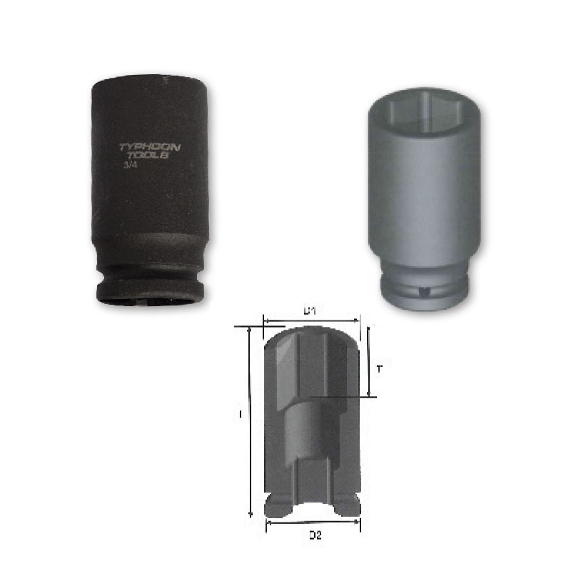 "3/4"" DRIVE deep Length Impact Sockets, 6-point, METRIC"