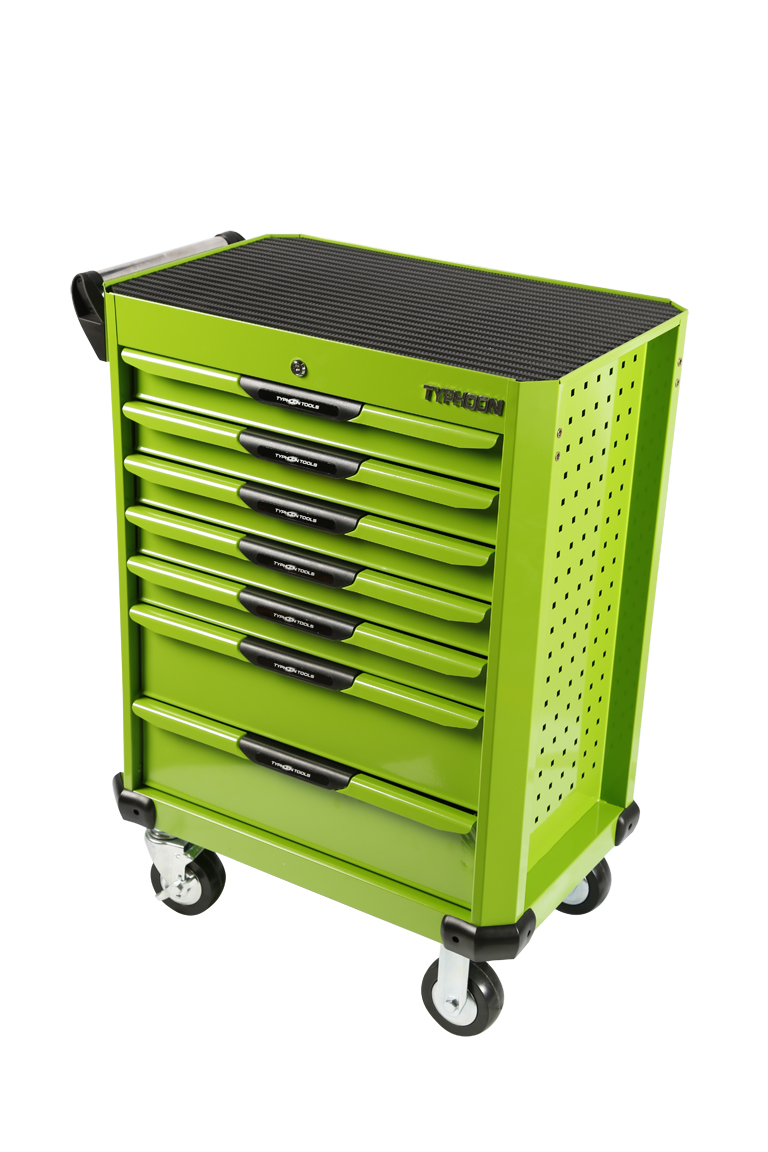 70834 7 Drawer Roller Cabinet Green – Series 2
