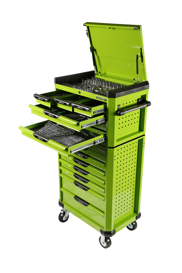 70973G 13 Drawer, 398pce AF & Metric Toolkit – Green