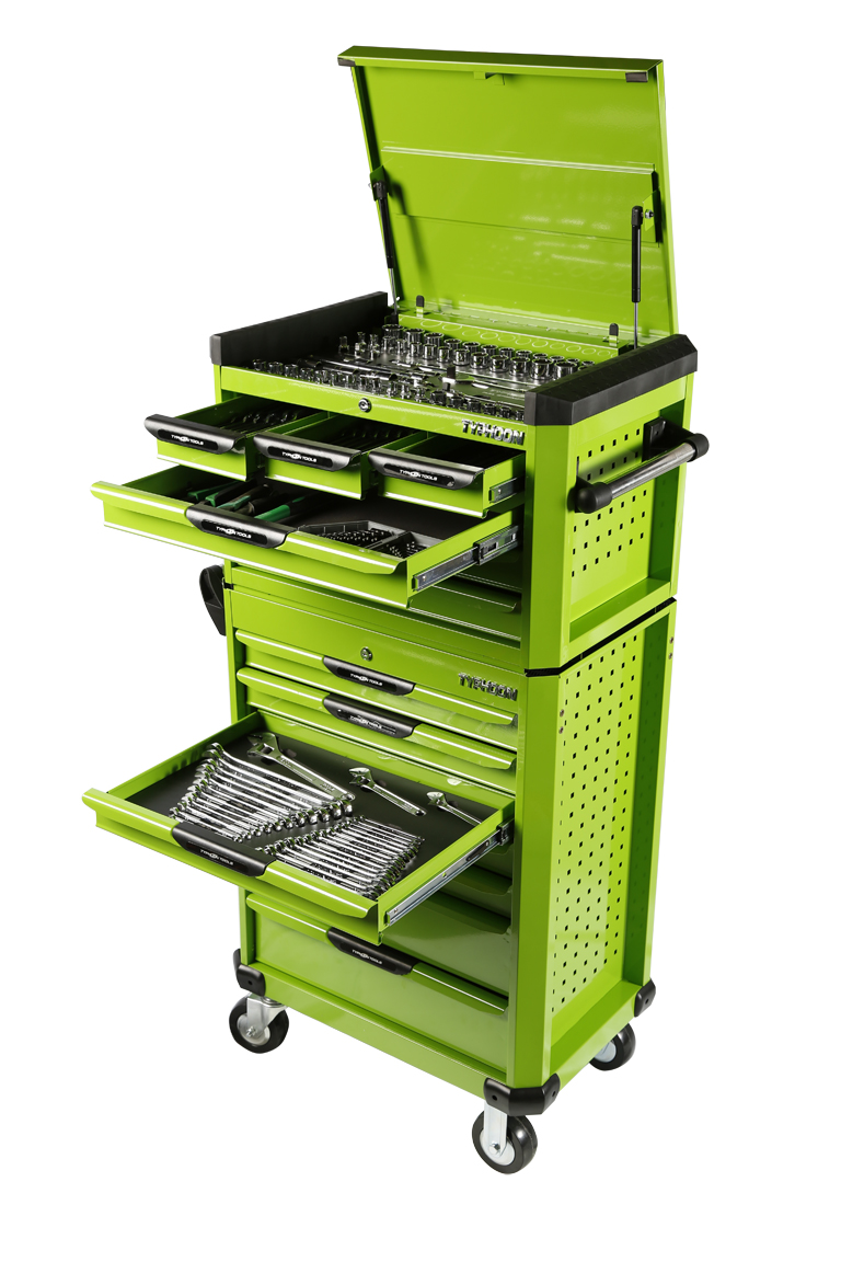 70974G 13 Drawer, 262pce AF & Metric Toolkit – Green