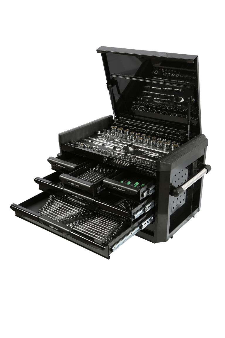 70976B 6 Drawer, 219pce AF & Metric Toolkit – Black