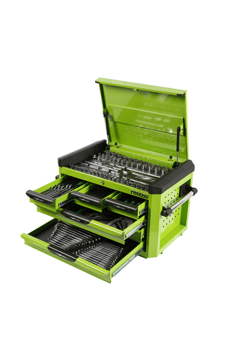 70976G 6 Drawer, 219pce AF & Metric Toolkit – Green
