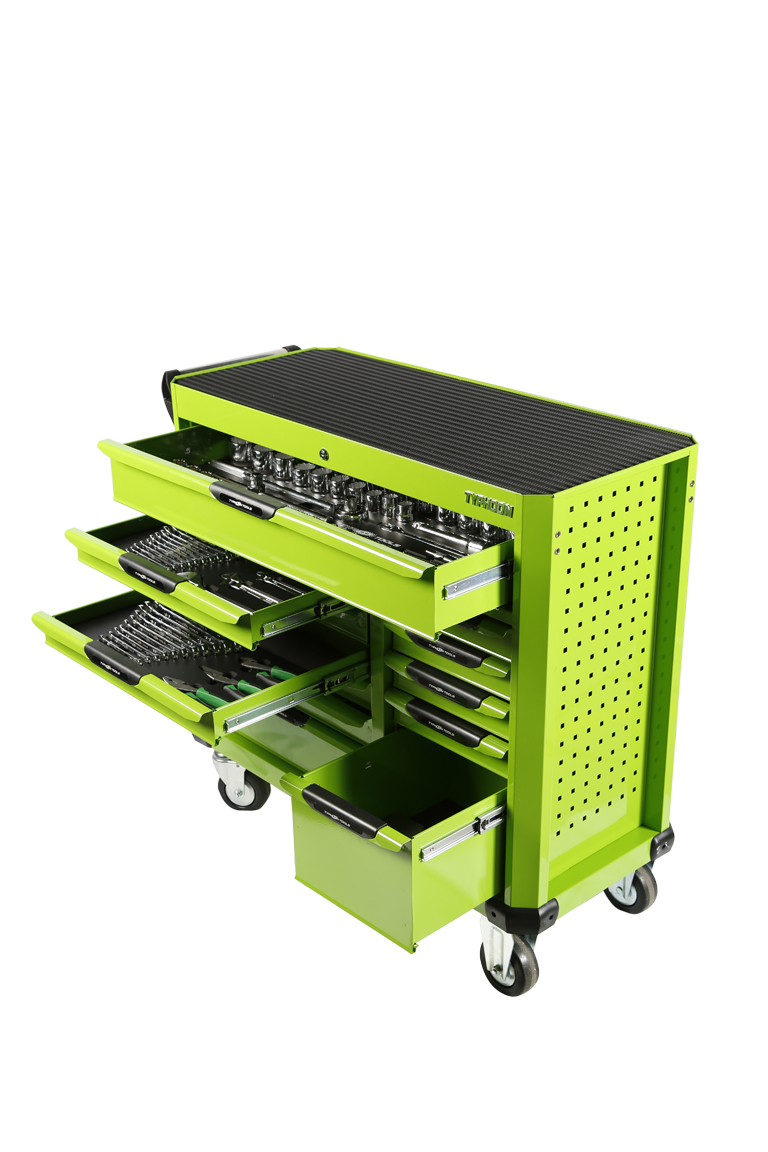 70980B & 70980G 12 Drawer, 414pce AF & Metric Toolkit in  Super wide Wagon – Black & Green