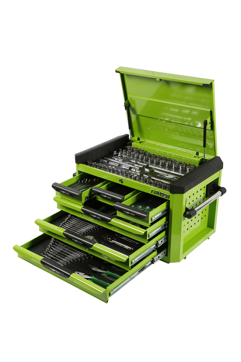 70985G 6 Drawer, 218pce AF & Metric Toolkit – Green