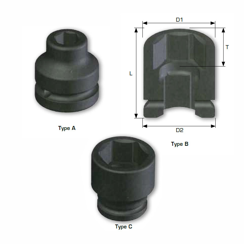 "1"" DRIVE Imperial Standard Length Impact Sockets, 6-point"
