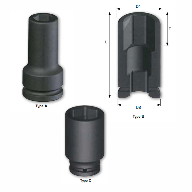 "1"" DRIVE imperial deep Length Impact Sockets, 6-point"