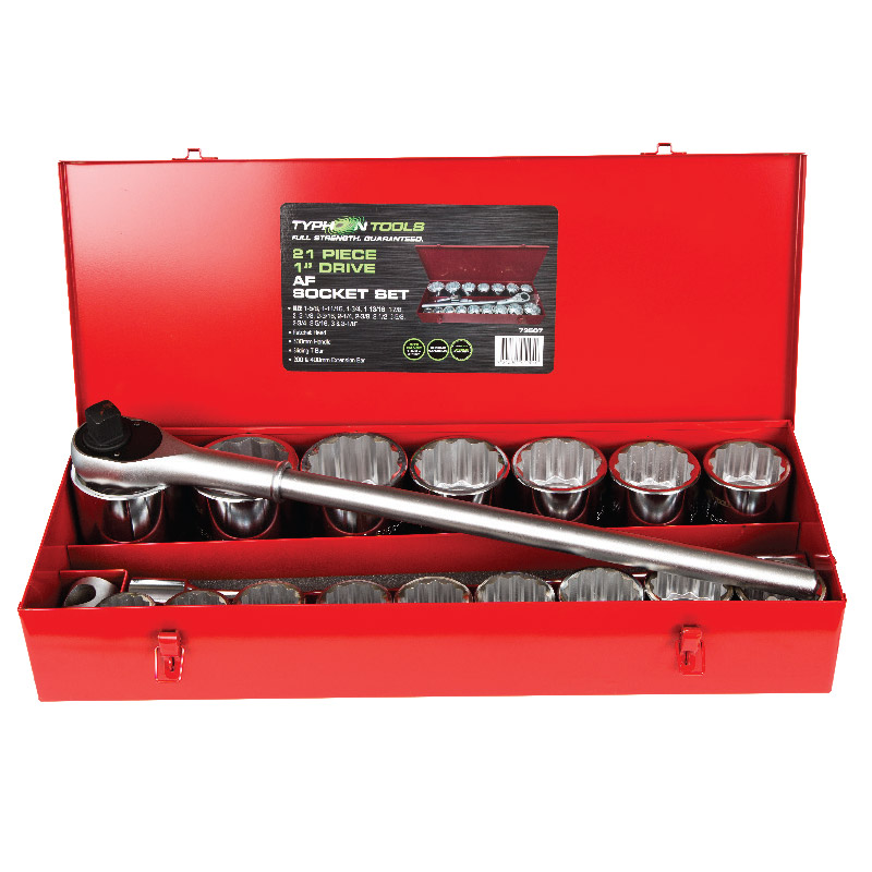 73507 – 21 Piece 1″ Drive Imperial Chrome Socket Set
