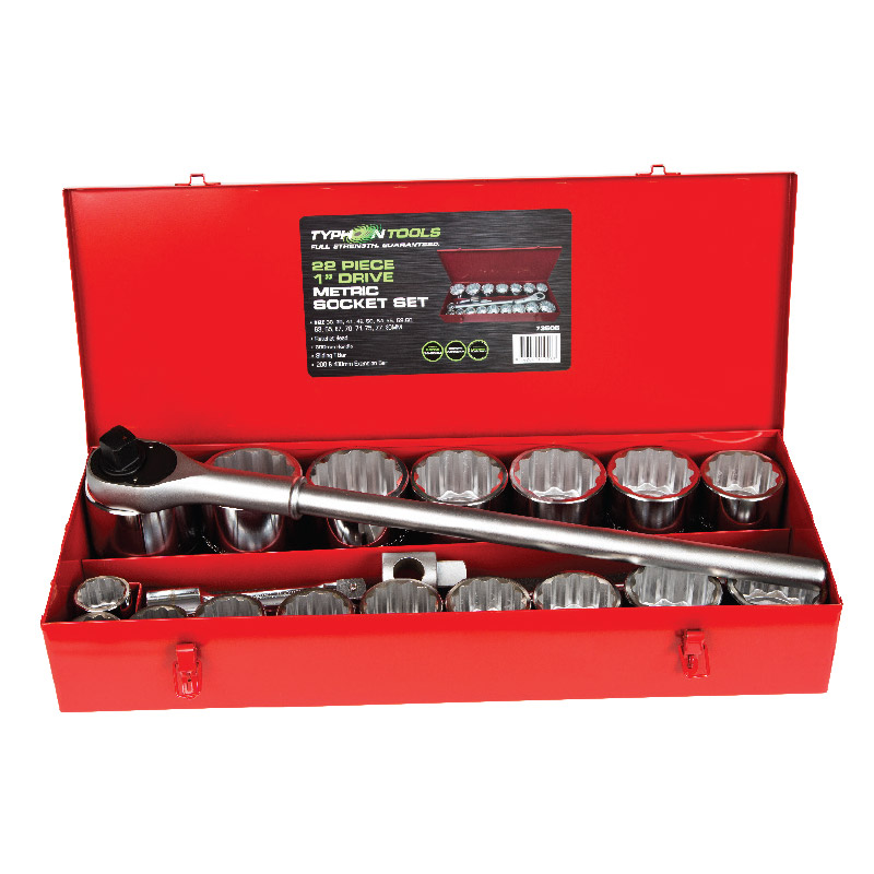 73506 – 22 Piece 1″ Metric Chrome Socket Set