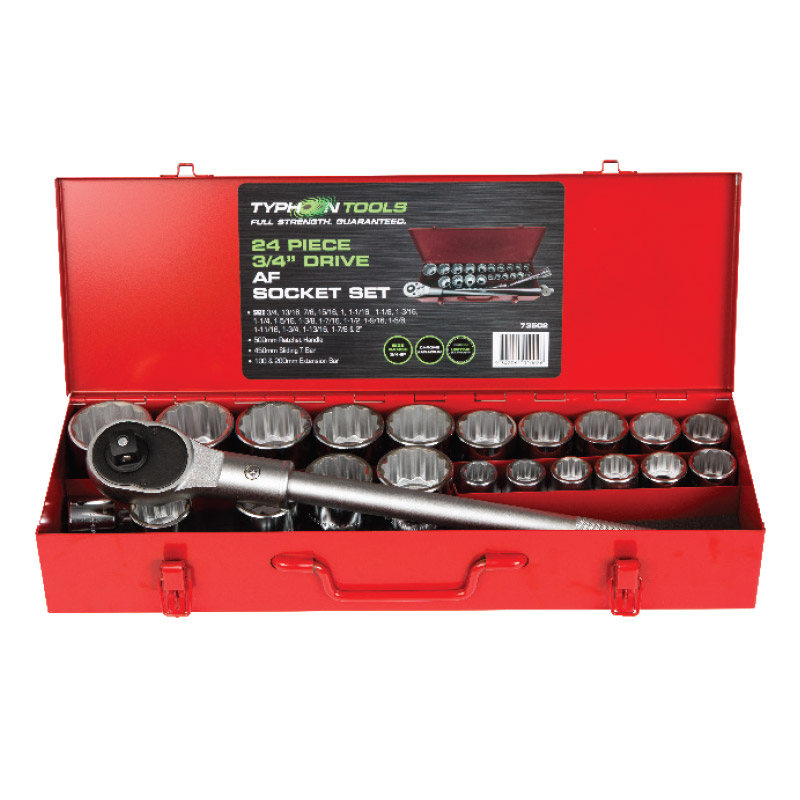 73501 – 23 Piece 3/4″ Drive Metric Chrome Socket Set