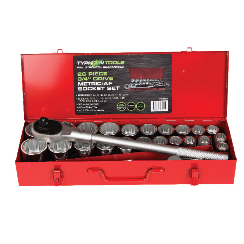 73500 – 26 Piece 3/4″ Drive Metric & AF Chrome Socket Set