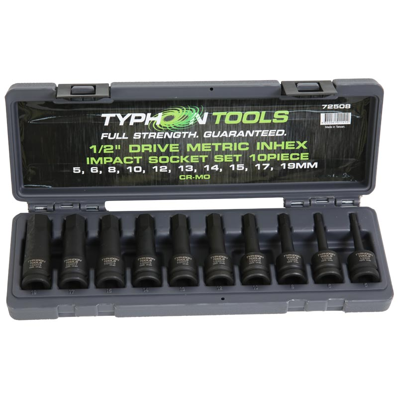 72508 – 1/2″ Drive 10 PCE Inhex Metric Impact Socket set